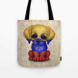 Cute Puppy Dog with flag of Venezuela Tote Bag