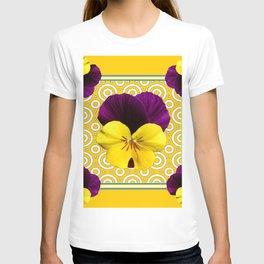 Golden Modern Art Deco Purple Pansy Pattern Art T-shirt