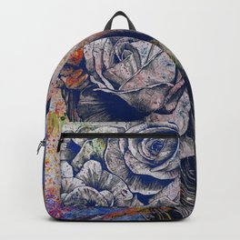 Of Blue Suffering  (dark lady portrait with roses) Backpack