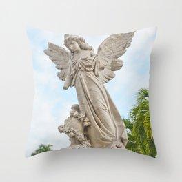 Necropolis Graveyard Statue Broken Angel Marble Cuba Island Carving Art Icon Christian Saint Holy Go Throw Pillow