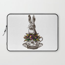 Rabbit in a Teacup | Rabbit and Flowers | Bunny Rabbits | Bunnies | Easter Rabbits | Hares | Laptop Sleeve