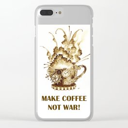 Steampunk 'Make Coffee Not War' Coffee Cup Clear iPhone Case