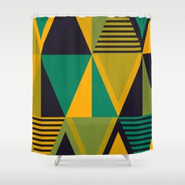 Green Triangles Shower Curtain