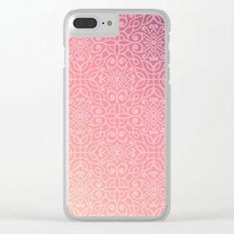Abstract Vintage Floral Pink Clear iPhone Case
