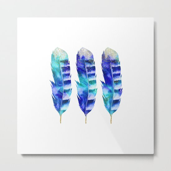 Blue Turquoise Watercolor Feather Art Metal Print