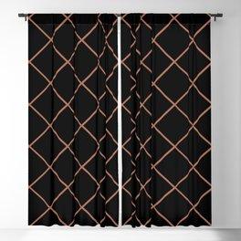 Sherwin Williams Cavern Clay SW7701 Thin Line Stripe Grid on Black Blackout Curtain