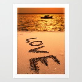 Love Written in the Sand Art Print