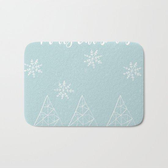 Merry Christmas Mint Bath Mat