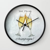 champagne Wall Clocks featuring Champagne! by mJdesign