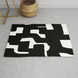 Tribal Maze Black & White Minimalist Ink Tribal Mid Century Pattern Dark Painting Pattern Rug