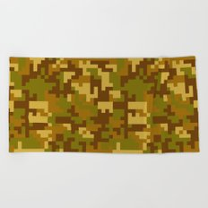 Green and Yellow Desert Army Camo pattern Beach Towel