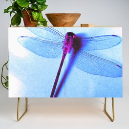Iridescent Dragon Fly - Digital Photography Art Credenza