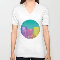 metropolis V-neck T-shirts featuring Metropolis by Gellygen Creative