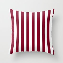 Narrow Vertical Stripes - White and Burgundy Red Throw Pillow