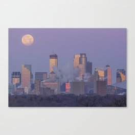 Supermoon Setting over Minneapolis Illuminated by Dawn Canvas Print