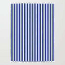 Cobalt Blue and White Vertical Nautical Sailor Stripe Poster