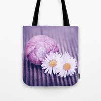 daisies Tote Bags featuring DAISIES by INA FineArt