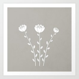 Simply Folk - White Poppies Art Print
