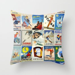 Vintage Skiing Posters Throw Pillow