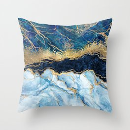 Abstract blue marble texture, gold foil and glitter decor, painted artificial indigo marbled surface, fashion marbling illustration Throw Pillow