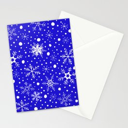Snowfall Blue Winter Stationery Cards