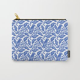Bird and Berries Pattern Blue Carry-All Pouch