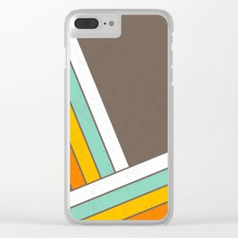 Retro 70s Stripes  -  Abstract Geometric Design Clear iPhone Case