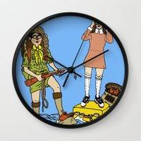 moonrise kingdom Wall Clocks featuring Moonrise Kingdom by Vincent Galea