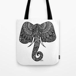 Zentangle - Elephant  Tote Bag