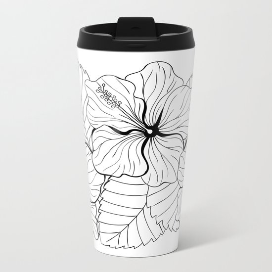 Tropical bouquet of hibiscus with leaves Metal Travel Mug