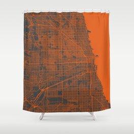 Chicago map orange Shower Curtain