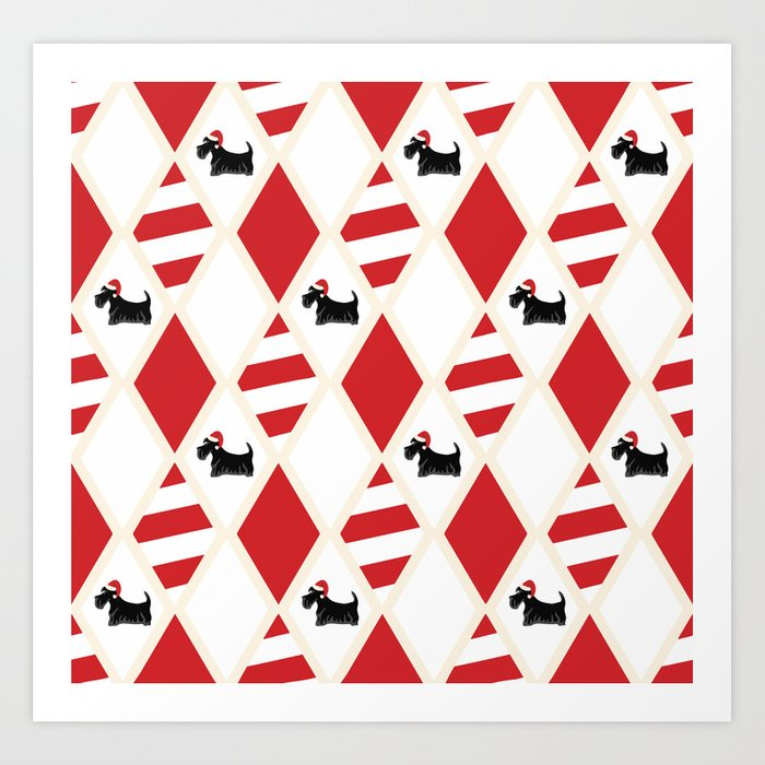 Scottie Dog Christmas Pattern Art Print