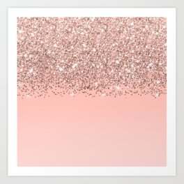 Girly Rose Gold Confetti Pink Gradient Ombre Art Print