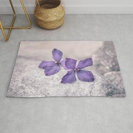 Zen Soft Pastel Purple Clematis Blossom Rug