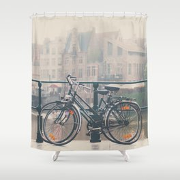 a bicycle date in Ghent Shower Curtain