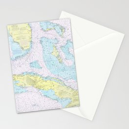 Vintage Map of The Straits of Florida (1976) Stationery Cards
