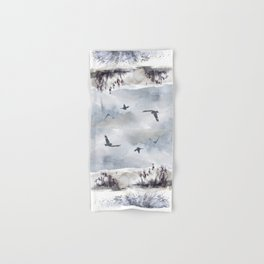 Soaring Above Sandy Beaches Against Stormy Skies Hand & Bath Towel