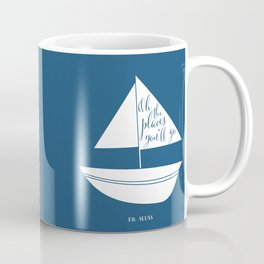 Dr Seuss Oh the Places you'll go navy sail boat Coffee Mug