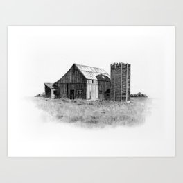 Pencil Art, Old Wooden Barn and Wooden Silo, Country Scene Art Print
