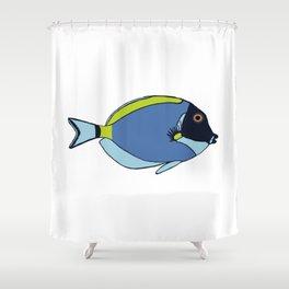 Powder Blue Tropical Fish Illustration Shower Curtain