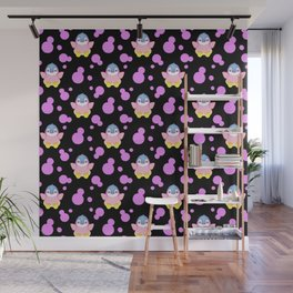 Cute sweet lovely little baby penguins flapping wings, bold pink retro dots black nursery pattern Wall Mural