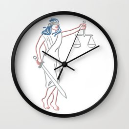 Lady Justice Holding Sword and Balance Neon Sign Wall Clock