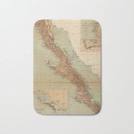 Vintage Map of Baja California (1922) Bath Mat