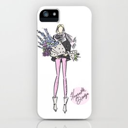 """Hayworth Design Fashion Illustration """"Fashionable Girl with Pink Scarf and Flowers""""     iPhone Case"""