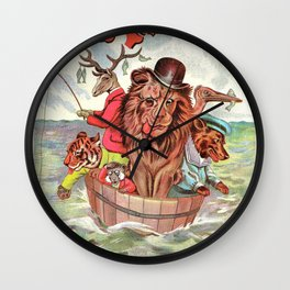 Humanized Comic Animals in a Tub at Sea by Louis Wain Wall Clock