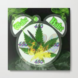 WAKE & BAKE Metal Print