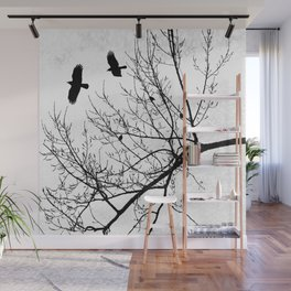 Crows Flying Birds in Tree Branches Black on White Wall Mural