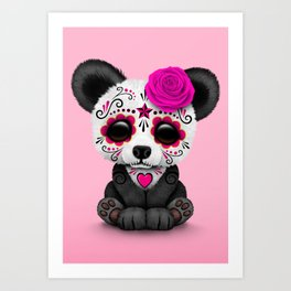 Pink Day of the Dead Sugar Skull Panda Art Print