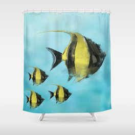Fish Watercolor Shower Curtain