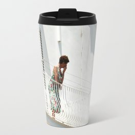 Lady on Balcony Travel Mug
